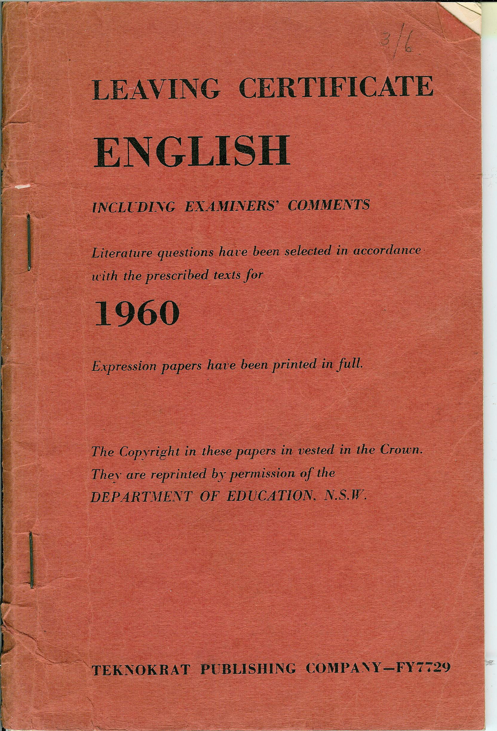 Examination Papers English Leaving Certificate1960 Equella